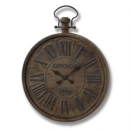 Antique brown London metal wall clock