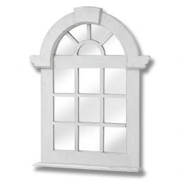 Antique white arch wooden window mirror