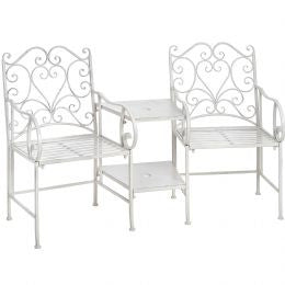 Antique white garden companion seats