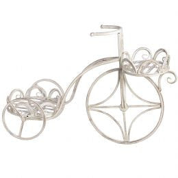 Antique white iron bicycle plant stand