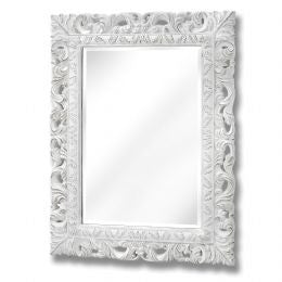 Antique White Ornate Leaf Wall Mirror