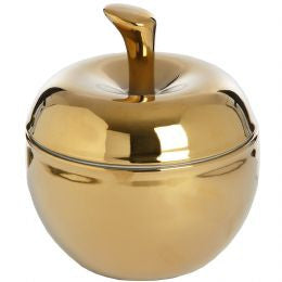 Apple Shaped Trinket Box In Gold Finish
