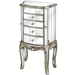 Mirrored Jewelry Armoire with Four Drawers