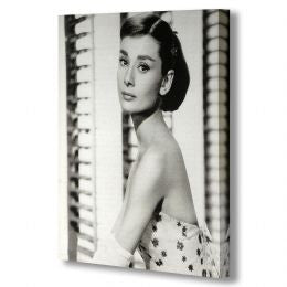Audrey Hepburn in Black & White Print on Canvas