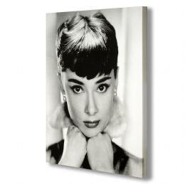 Audrey Hepburn Portrait - Black & White on Stretched Canvas