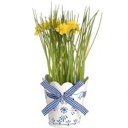 Blue and White Indoor Planter with Ribbon Detail