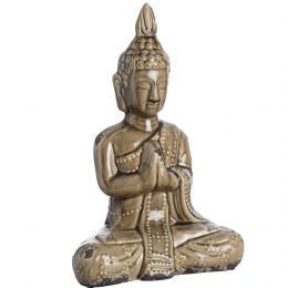 Brown Ceramic Buddha In Seated Position
