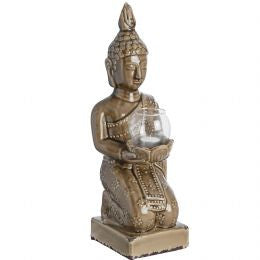 Brown Ceramic Kneeling Buddha Tea Light Holder