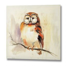 Brown owl hand painted canvas