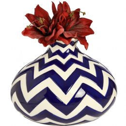 Bulbous white and navy chevron pattern vase.
