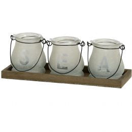 by the sea frosted candle holders with tray