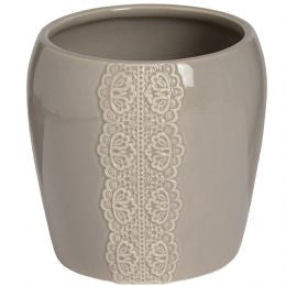 Ceramic lace detail candle holder in grey