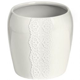 Ceramic lace detail Candle holder in white