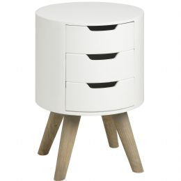 Contour Collection  White Three Drawer Side Table