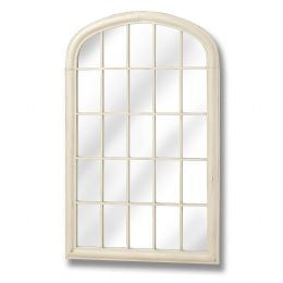 Cream arched top garden mirror