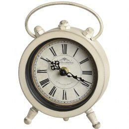 Cream round mantel clock with handle