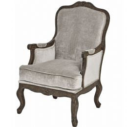 Crushed Velvet Arm Chair in Silver Grey with Dark wood frame