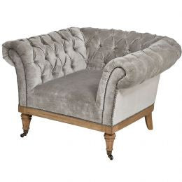 Crushed Velvet Chesterfield Chair in Silver & Grey