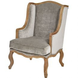 Crushed Velvet Wing Chair in Silver Grey