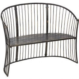 Curved Antique brown iron garden bench