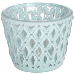 Duck egg Blue glass tea light holder