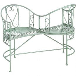 Duck egg blue iron garden love seat