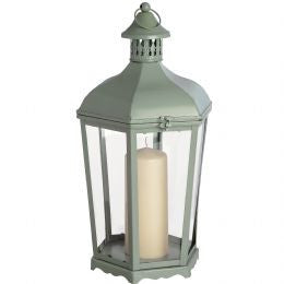 Duck egg blue iron hexagonal lantern