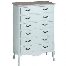 Duck Egg Blue Wooden Six Drawer Large Chest