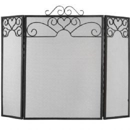 Heart Motif Black Brushed Steel Fire Screen - large