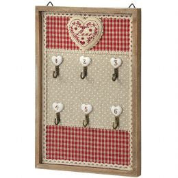 Key Hook Board With Floral Heart Design