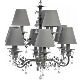 Nine lamp Chandelier with shades and crystals