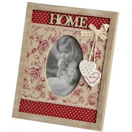 Photo Frame With Floral Fabric Design  And Home Letters