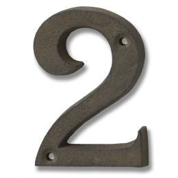 Rustic brown cast iron number '2'
