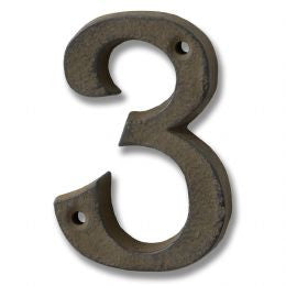 Rustic brown cast iron number '3'