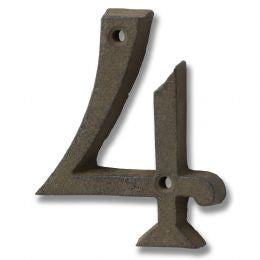 Rustic brown cast iron number '4'