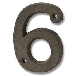 Rustic brown cast iron number '6'
