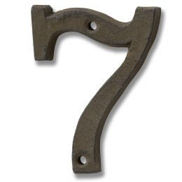 Rustic brown cast iron number '7'