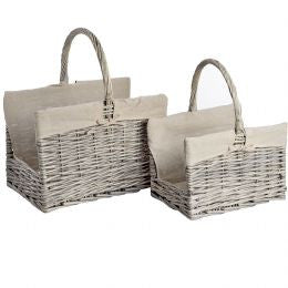 Set of 2 Wicker log carrier baskets