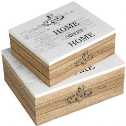 Set of 2 Wooden Home Sweet Home Boxes
