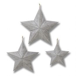 Set of three grey wooden stars