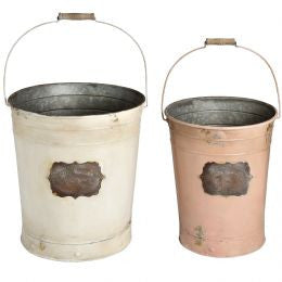 Set of Two Vintage Tin Buckets