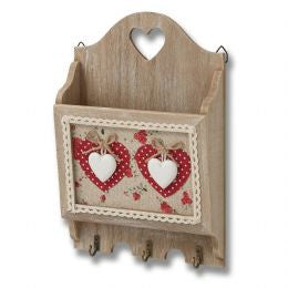 Wooden letter rack with heart designs, plus hooks.