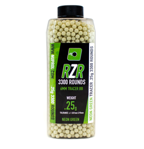 RZR 0.25g BB 3300rds Tracer Green - A2 Supplies Ltd