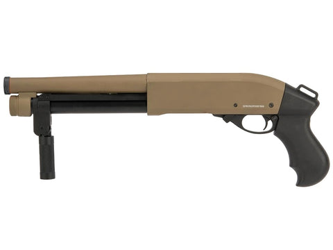 Golden Eagle M870 'Serbu' Super Shorty Gas Tri-Shot Shotgun Tan - A2 Supplies Ltd