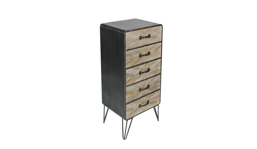 Chevron Wood & Metal Dresser