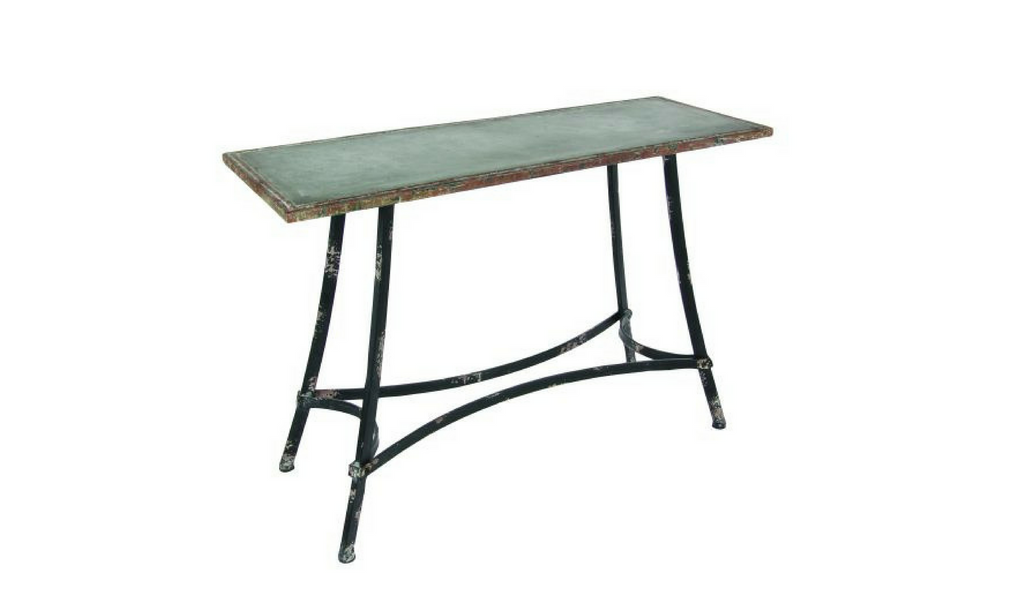 Distressed Metal Console Table