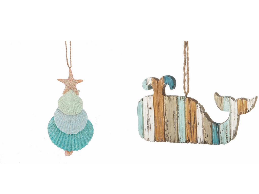 whale ornament and seashell tree