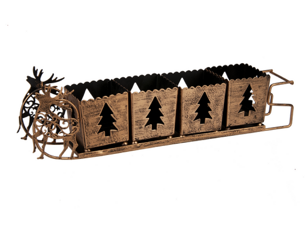 Metal sleigh votive holder