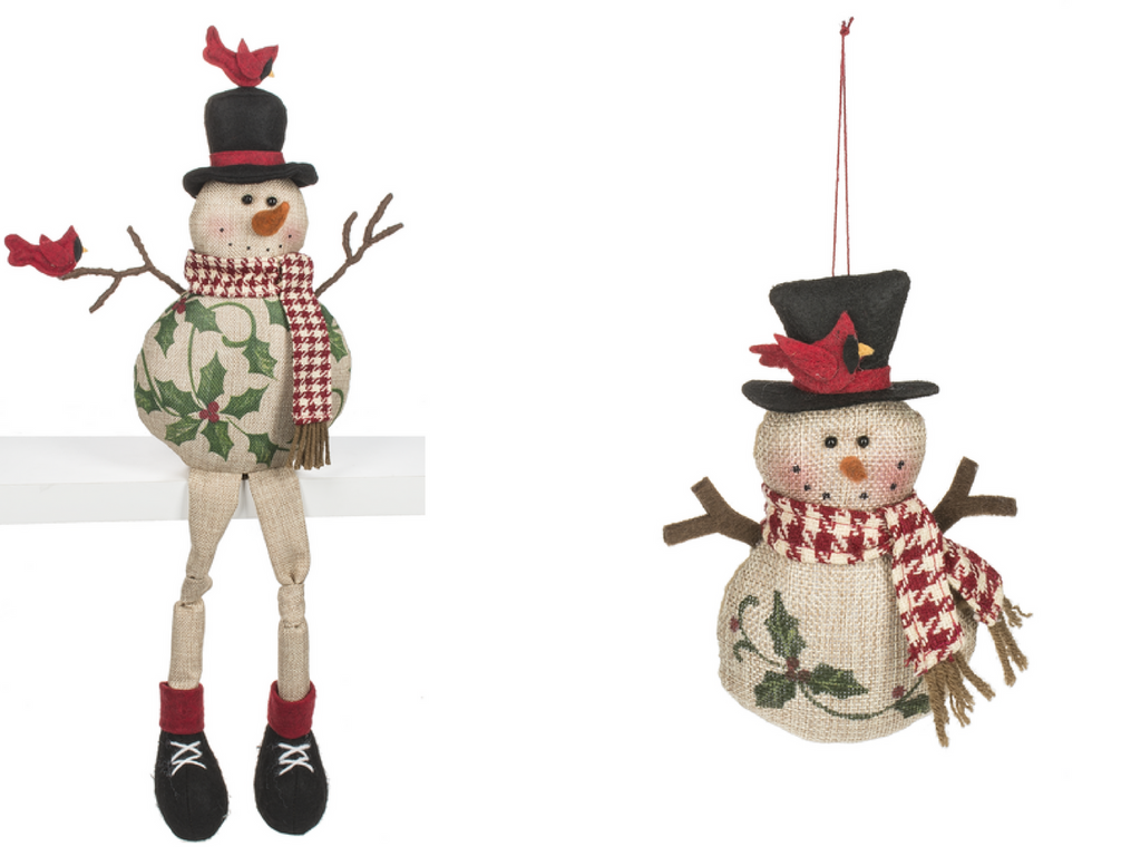 shelf sitter snowmen and ornament