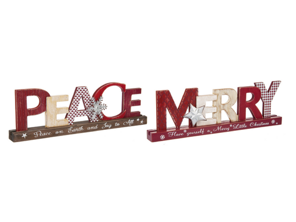 Peace and merry font mantle signs